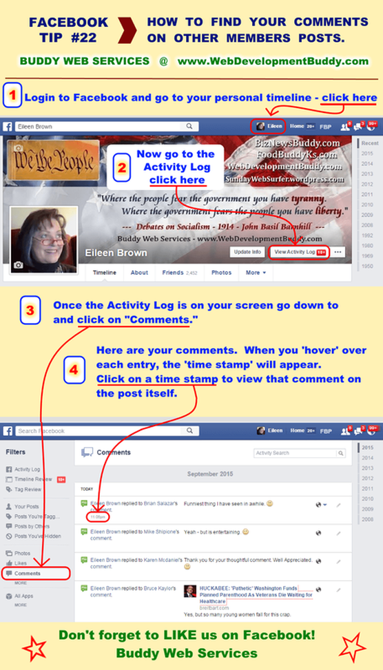 How to find your comments at Facebook by Buddy Web Services